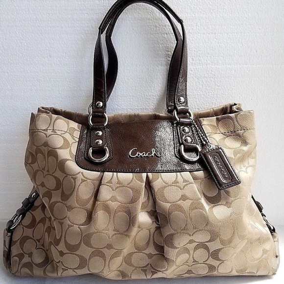 Coach Handbags - COACH Ashley Signature Sateen Handbag F15510 Khaki 2d5b6fc06ce97